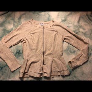 Elle Beige Zipper Sweater